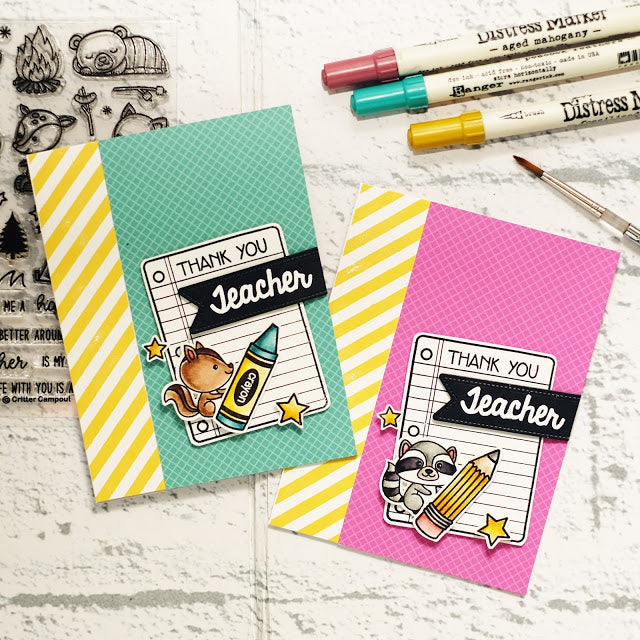 Sunny Studio Stamps Background Basics Yellow Striped Thank You Teacher Card