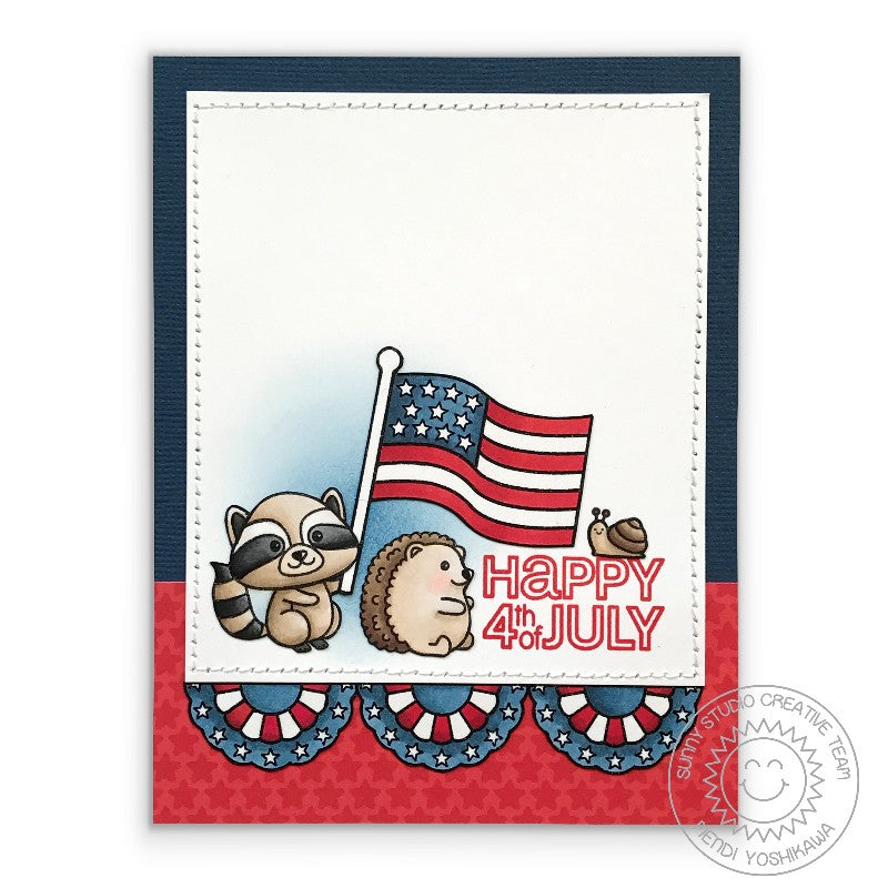 Sunny Studio Stamps Critter Campout Raccoon, Hedgehog & Snail Fourth of July Flag Card