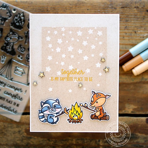 Sunny Studio Stamps Critter Campout Cascading Stars White Stamping on Kraft Card by Vanessa Menhorn.