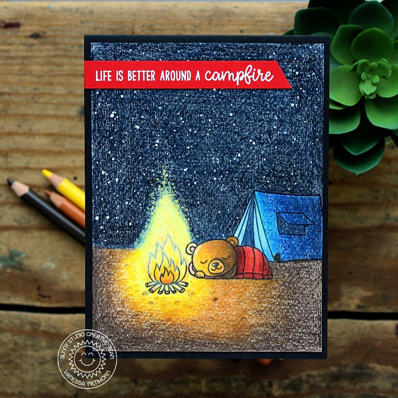 Sunny Studio Stamps Critter Campout Bear by Camp Fire Card created with colored pencils