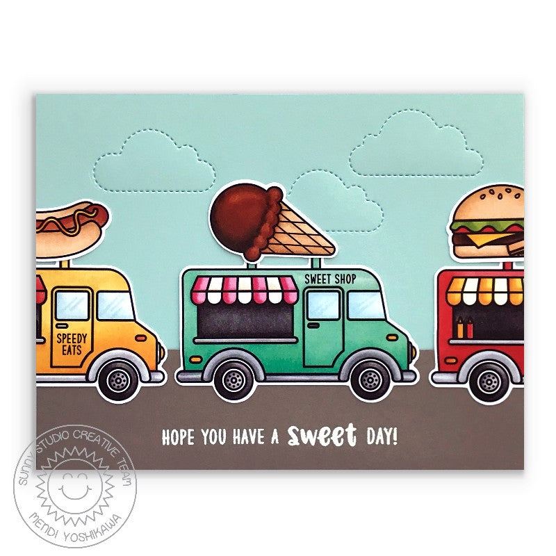 "Sunny Studio Stamps Cruisin' Cuisine Ice Cream Food Truck ""Have A Sweet Day"" Handmade Card (using 4x6 Photopolymer Clear Stamp Set)"