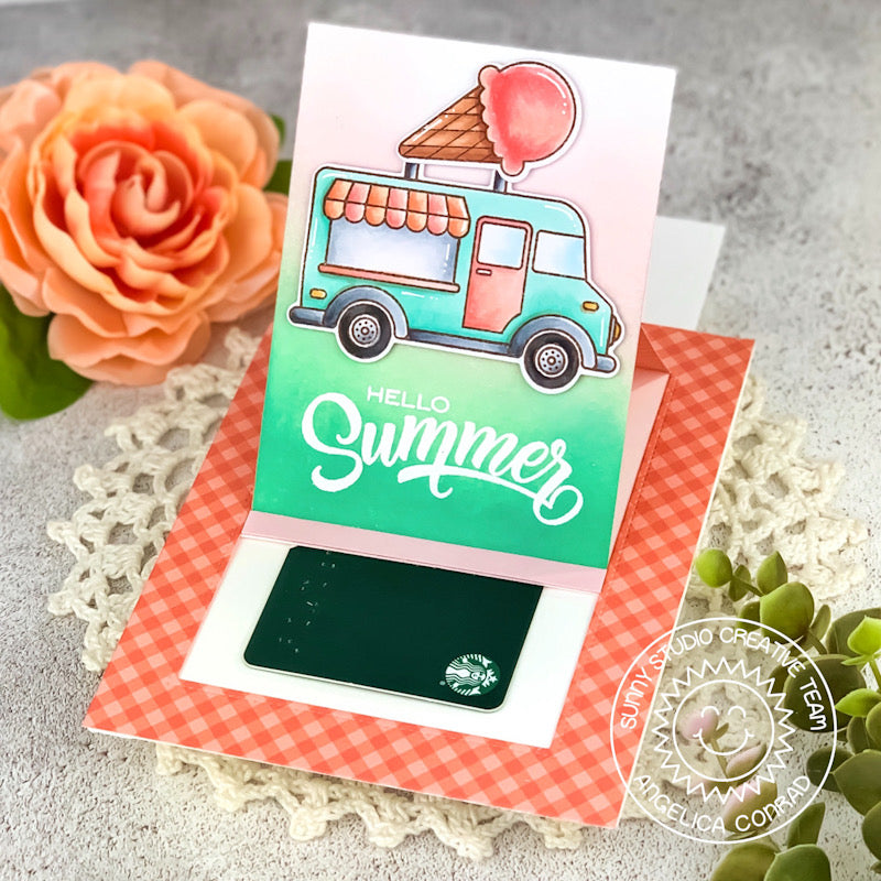 Sunny Studio Stamps Hello Summer Pop-up Interactive Ice Cream Cone Handmade Card (using Cruisin' Cuisine Food Truck 4x6 Clear Photopolymer Stamp Set)