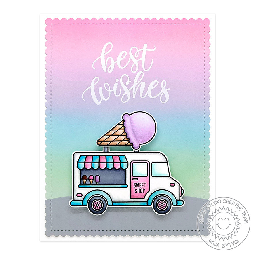 Sunny Studio Stamps Best Wishes Pastel Rainbow Sherbet Ice Cream Truck Handmade Card (using Cruisin' Cuisine 4x6 Clear Stamps)