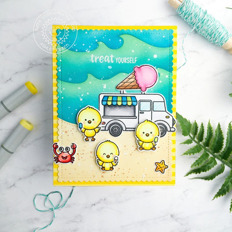 "Sunny Studio ""Treat Yourself"" Chicks Eating Popsicles from Ice Cream Truck at Beach Summer Themed Handmade DIY Greeting Card (using Catch A Wave Border Metal Cutting Die)"