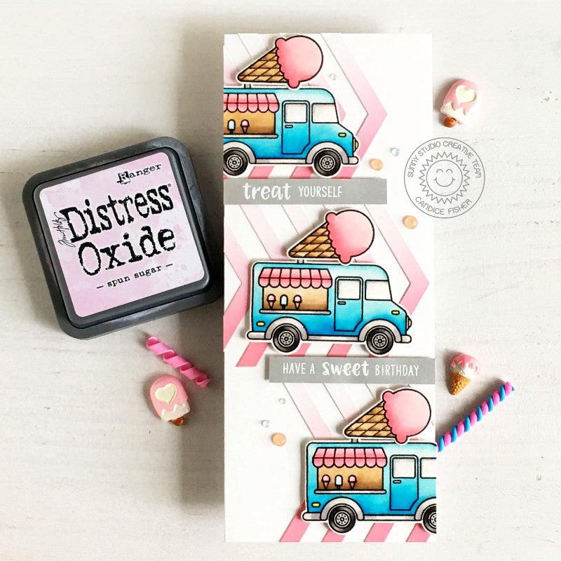 Sunny Studio Stamps Treat Yourself Ice Cream Truck Summer Slimline Handmade Card (using Frilly Frames Chevron Metal Cutting Dies)