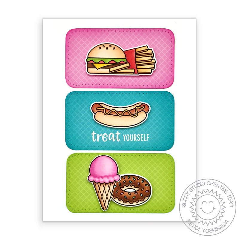 Sunny Studio Stamps Treat Yourself Hamburger, Cheeseburger, Fries, Hotdog, Donut & Ice Cream Handmade Card (using Cruisin' Cuisine 4x6 Clear Photopolymer Stamp Set)