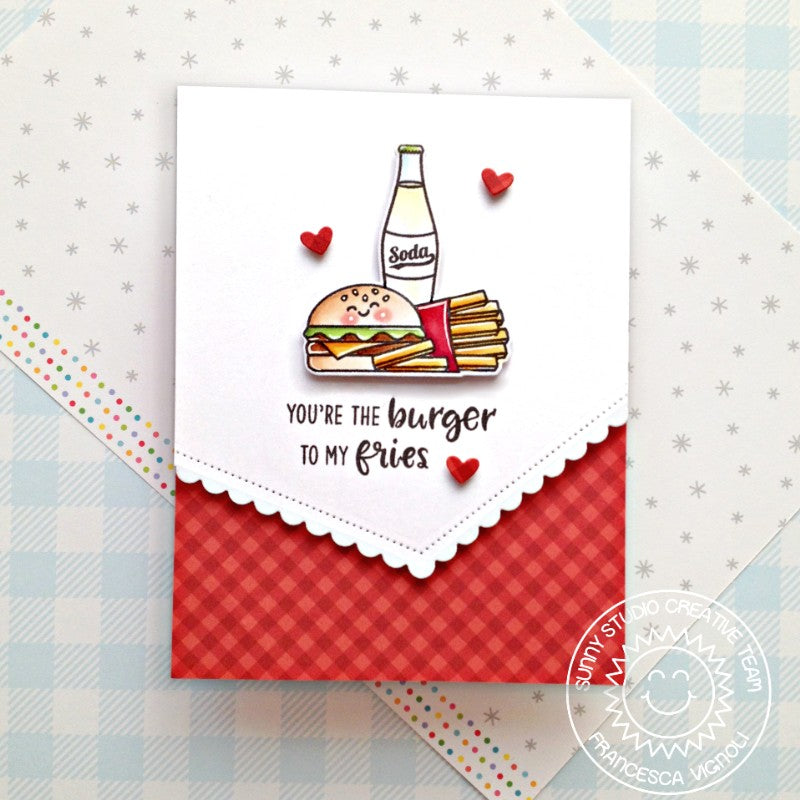Sunny Studio Stamps You're The Burger To My Fries Punny Cheeseburger, French Fries and Soda Pop Bottle Red Gingham Handmade Card (using Cruisin' Cuisine Food Truck 4x6 Clear Photopolymer Stamp Set)