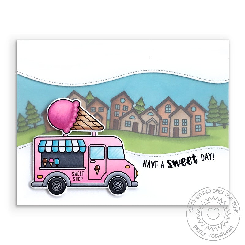 Sunny Studio Stamps: Have A Sweet Day Ice Cream Truck Neighborhood Card (using Cruisin' Cuisine 4x6 Clear Photopolymer Stamp Set)