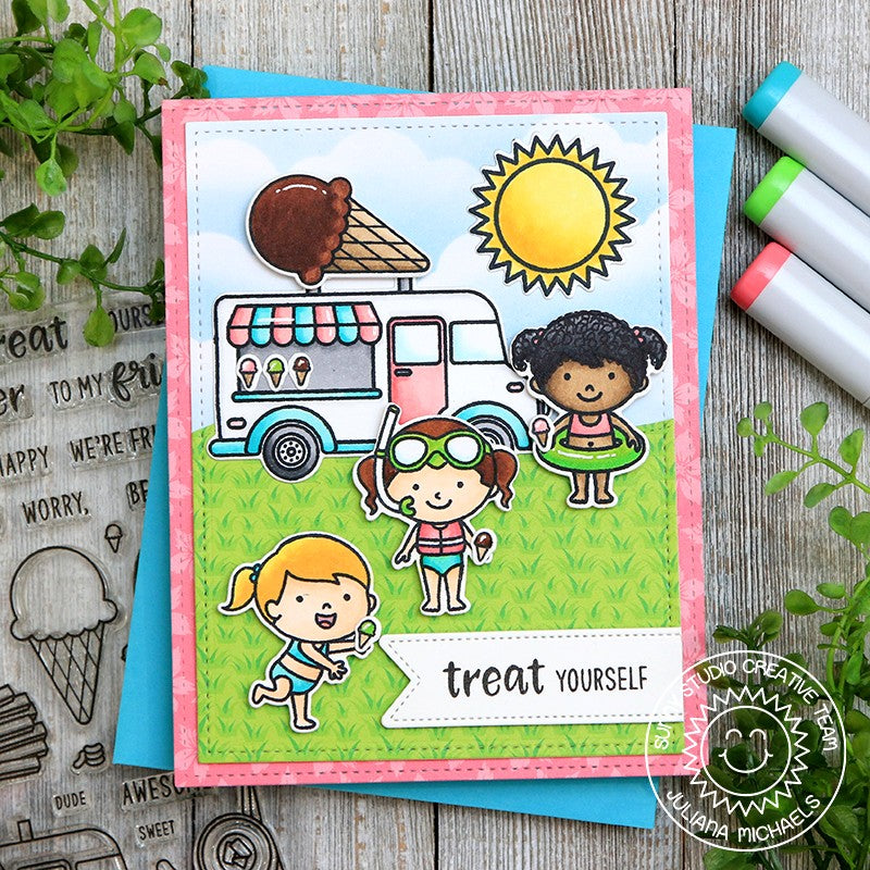 "Sunny Studio Stamps ""treat yourself"" Kids with Ice Cream Truck Summer Handmade Card (using Beach Babies 4x6 Clear Photopolymer Stamp Set)"