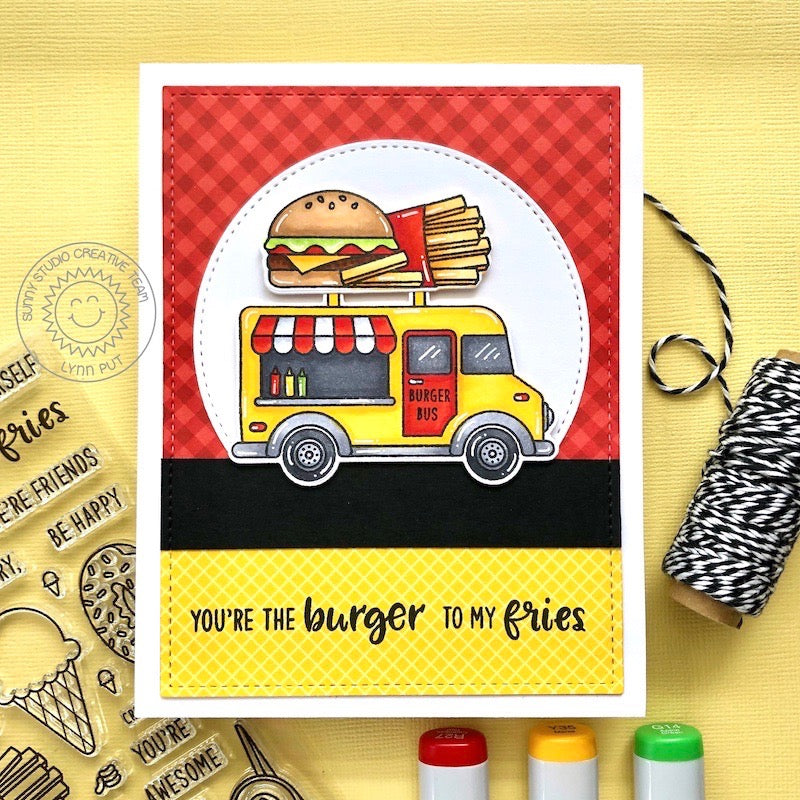 Sunny Studio Hamburger and Fries Burger Bus Food Truck Punny Love Themed Handmade DIY Greeting Card (using Cruisin' Cruisine 4x6 Clear Photopolymer Stamp Set)