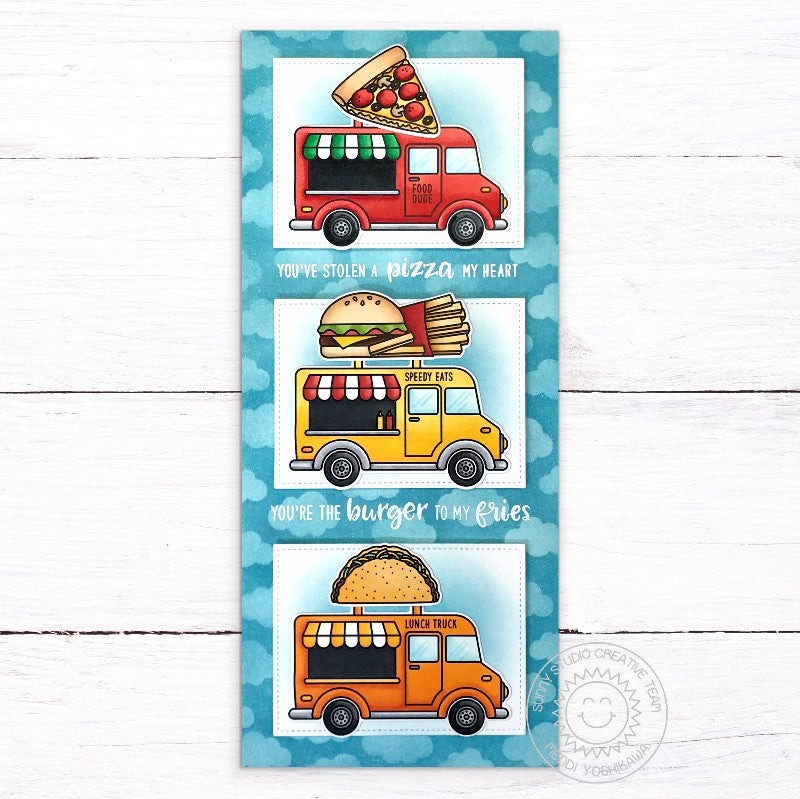Sunny Studio Stamps: You've Stolen A Pizza My Heart & You're the Burger To My Fries Punny Taco Food Truck Handmade Slimline Card (using Cruisin' Cuisine & Fast Food Fun 4x6 Clear Photopolymer Stamp Set)