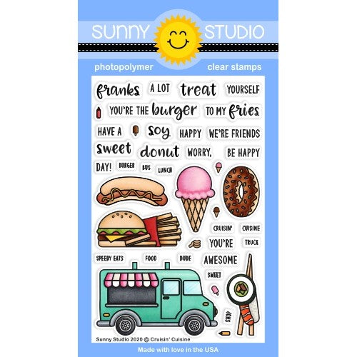 Sunny Studio Stamps Cruisin' Cuisine Hot Dot, Hamburger, Fries, Donut, Ice Cream & Sushi Food Truck Punny Puns 4x6 Clear Photopolymer Stamp Set