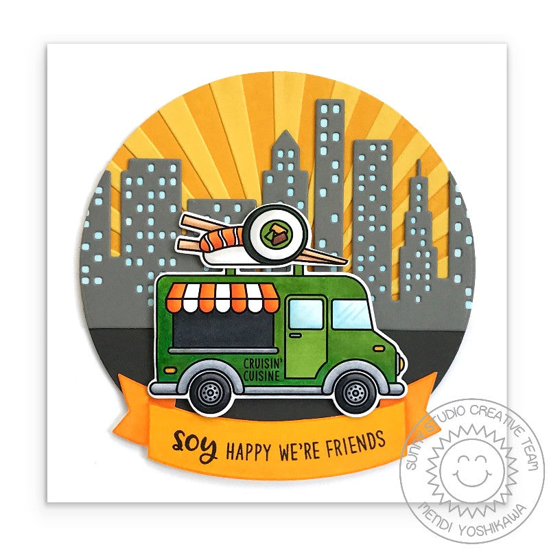Sunny Studio Stamps Soy Happy We're Friends Sushi Food Truck Card with Embossed Sun Ray Background (using Sunburst 6x6 Embossing Folder)