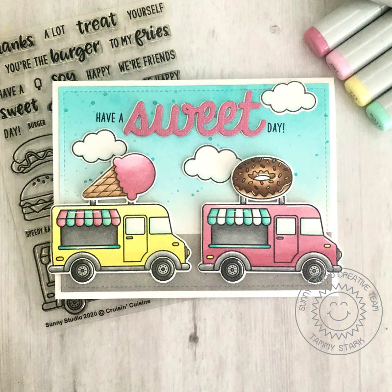 "Sunny Studio Cruising Ice Cream & Donut Food Truck ""Have A Sweet Day"" Handmade Card (using Cruisin' Cuisine 4x6 Clear Photopolymer Stamp Set)"