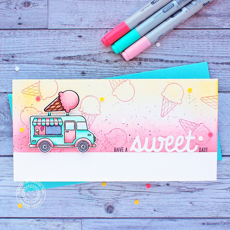Sunny Studio Stamps Have A Sweet Day Ice Cream Truck Slimline Handmade Card (using Cruisin' Cuisine 4x6 Clear Stamps)