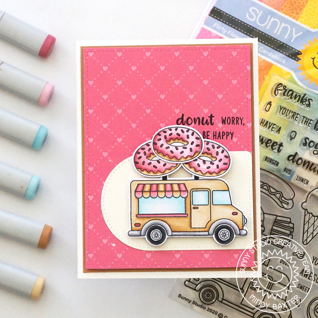 Sunny Studio Stamps Cruisin' Cuisine Donut Worry, Be Happy Food Truck Card by Mindy Baxter (using Stitched Arch Nesting Basic Metal Cutting Dies)