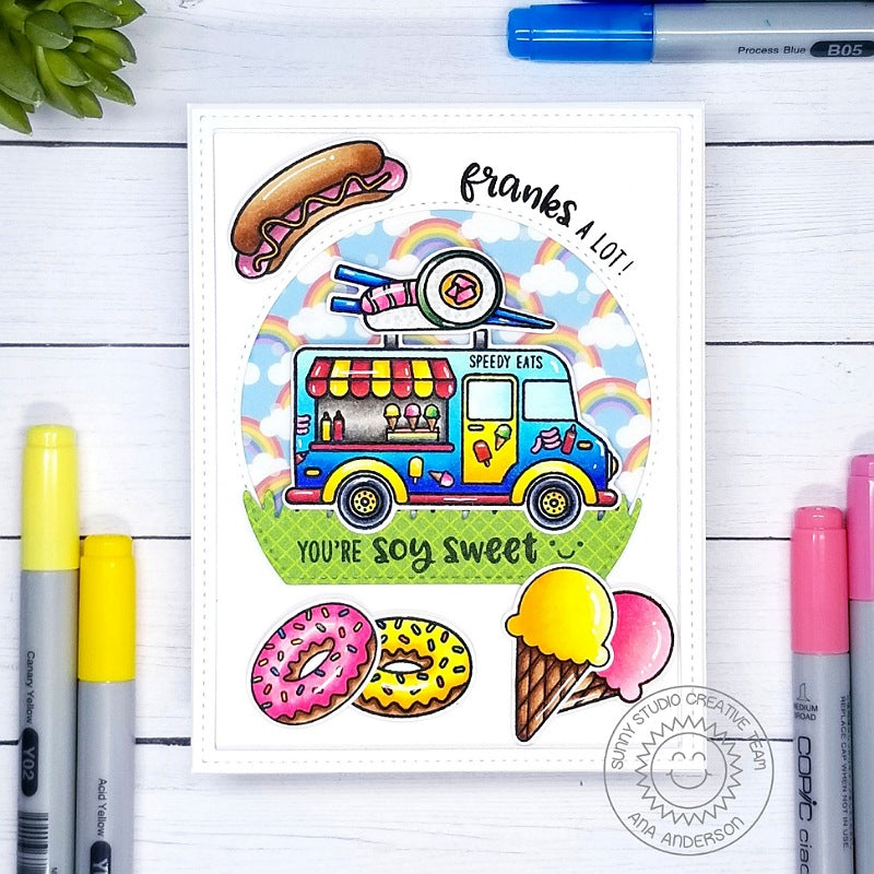Sunny Studio Cruising You're So Sweet Punny Sushi Food Truck Handmade Card (using Cruisin' Cuisine 4x6 Clear Photopolymer Stamp Set)