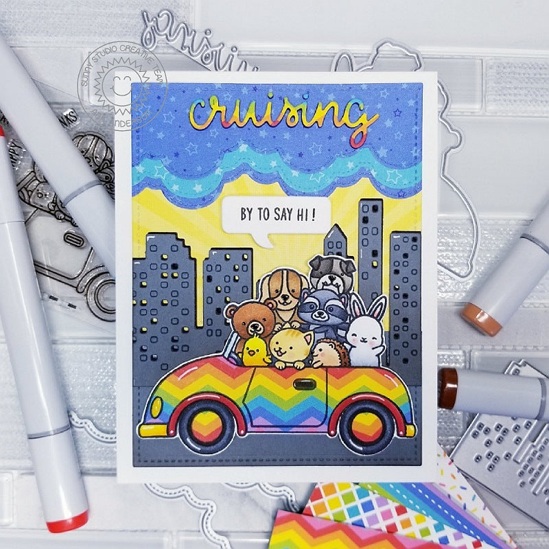 Sunny Studio Stamps Cruising By To Say Hi Critters in Rainbow Car Card (using Cityscape Border Dies)