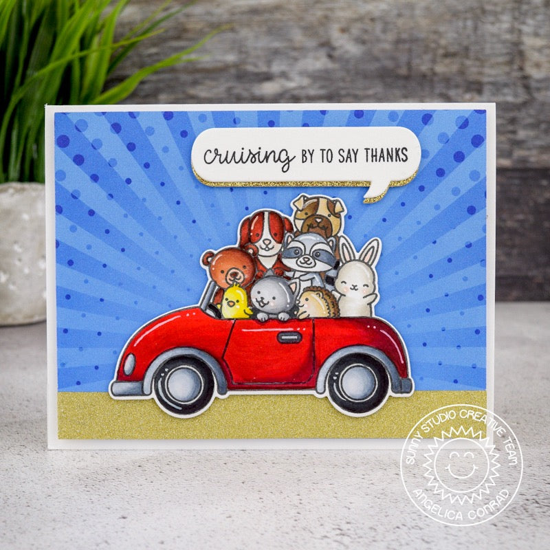 Sunny Studio Stamps Cruising By To Say Thanks Critters in Car Card (using Sunburst pattern from Heroic Halftones 6x6 Paper Pack)