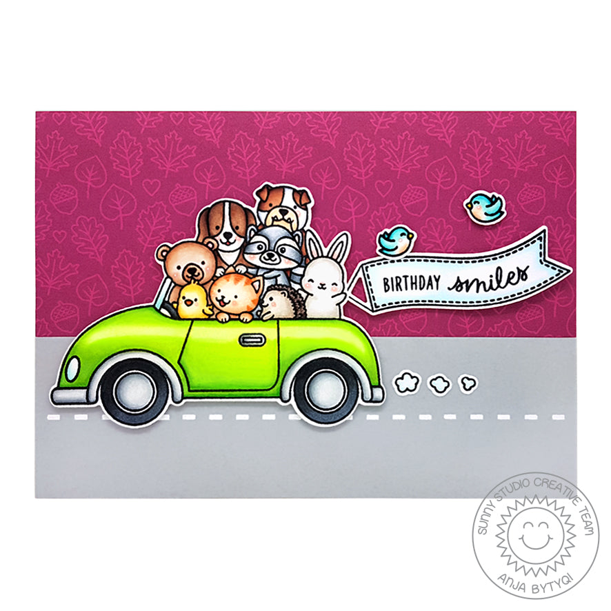 Sunny Studio Stamps Cruising Critters Animals Piled in Car Sending Smiles Fall Handmade Card by Anja