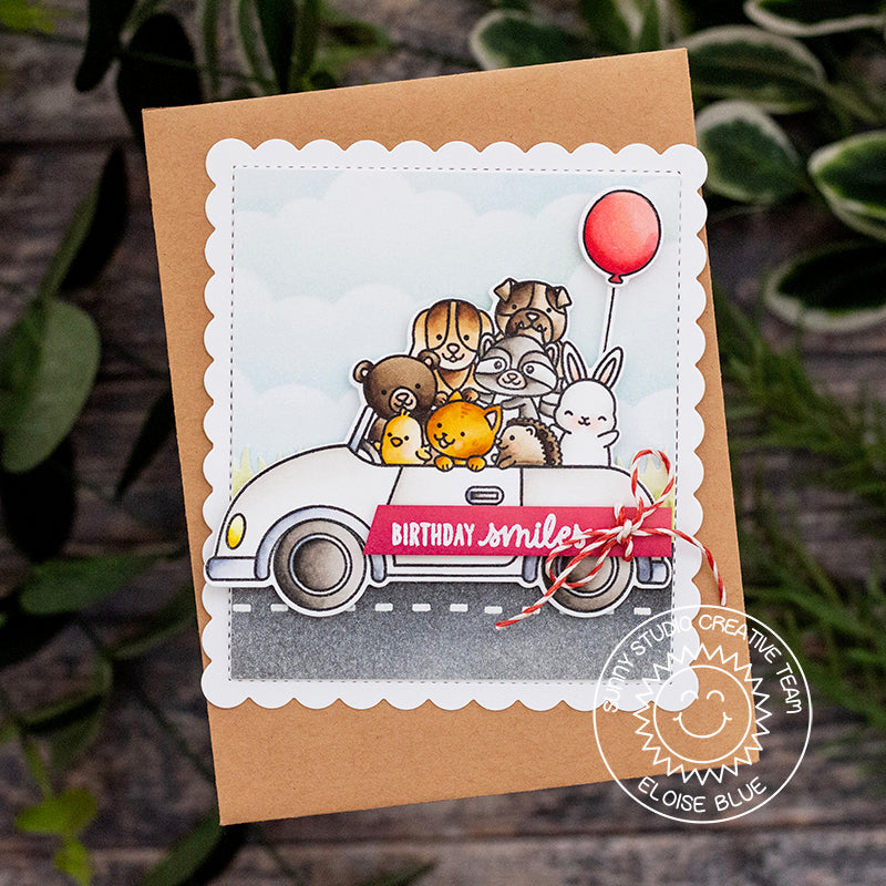 Sunny Studio Stamps Cruising Critters Animals in Car with Red Balloon Birthday Card by Eloise Blue