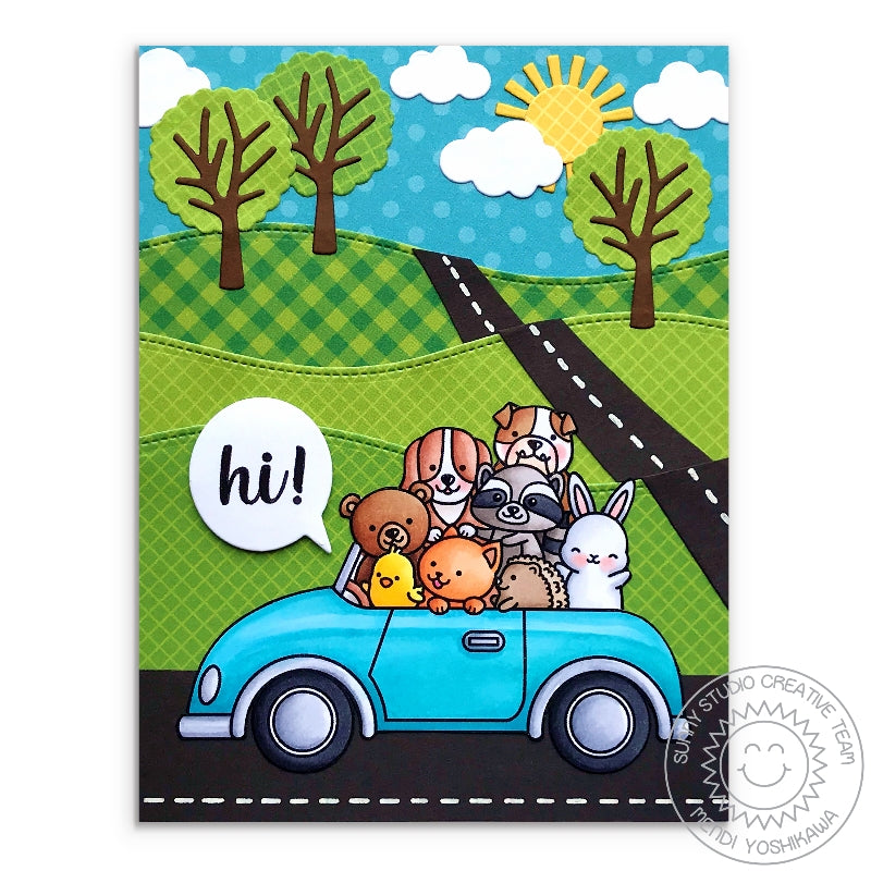 Sunn Studio Stamps Cruising Critters Hillside Car full of Critters Card by Mendi Yoshikawa