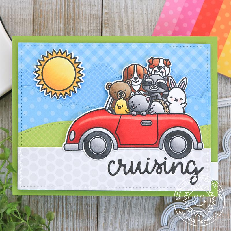 Sunny Studio Stamps Cruising Critters Animals Piled In Car Handmade Slider Card by Juliana Michaels