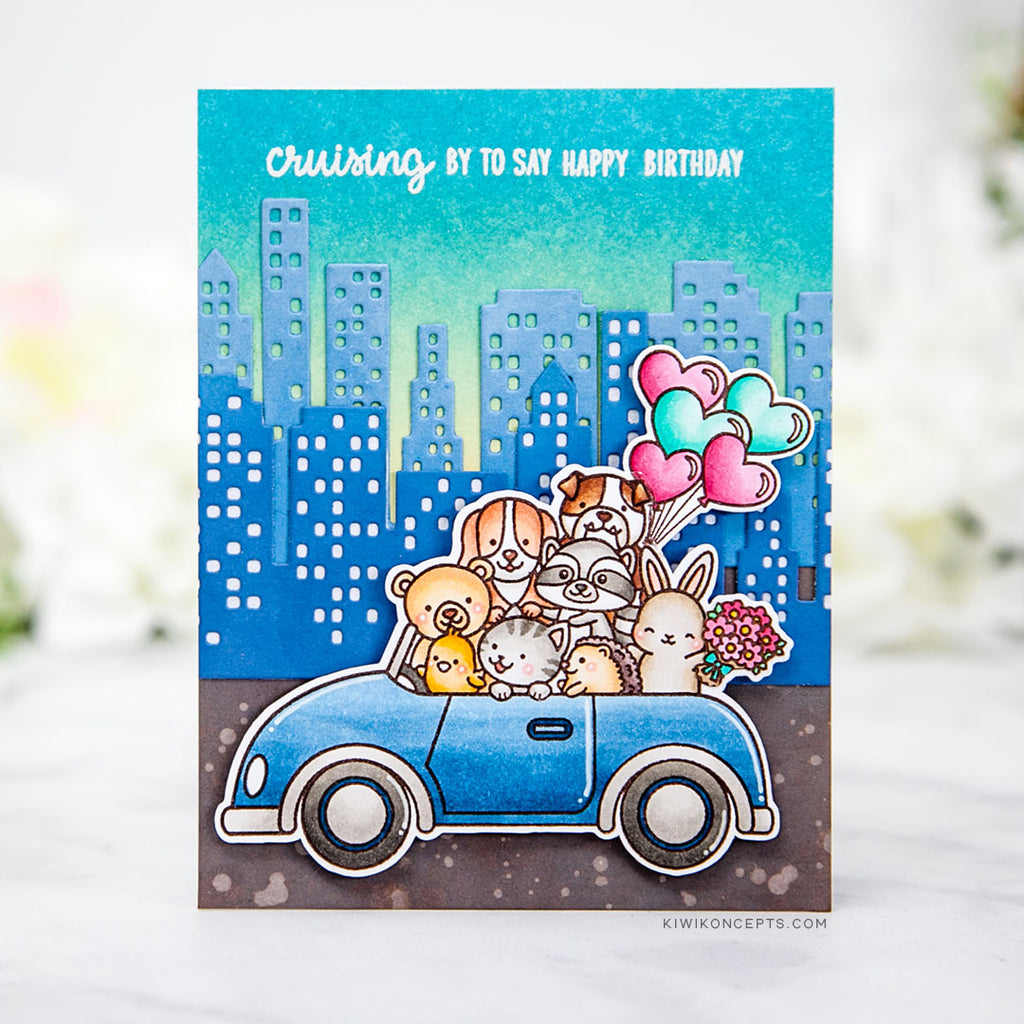 Sunny Studio Stamps Critters in Card Handmade Birthday Card by Keeway Tsao (using Cityscape City Buildings Border Die)