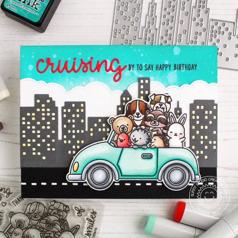 Sunny Studio Stamps Cruising Critters Animals in Car Driving through City Card (using Stitched Fluffy Cloud Border Dies)