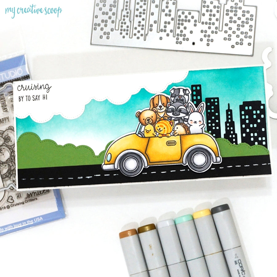 Sunny Studio Stamps Cruising Critters Animals in Car Handmade Card by Mindy Baxter (using Cityscape City Buildings Border Die)