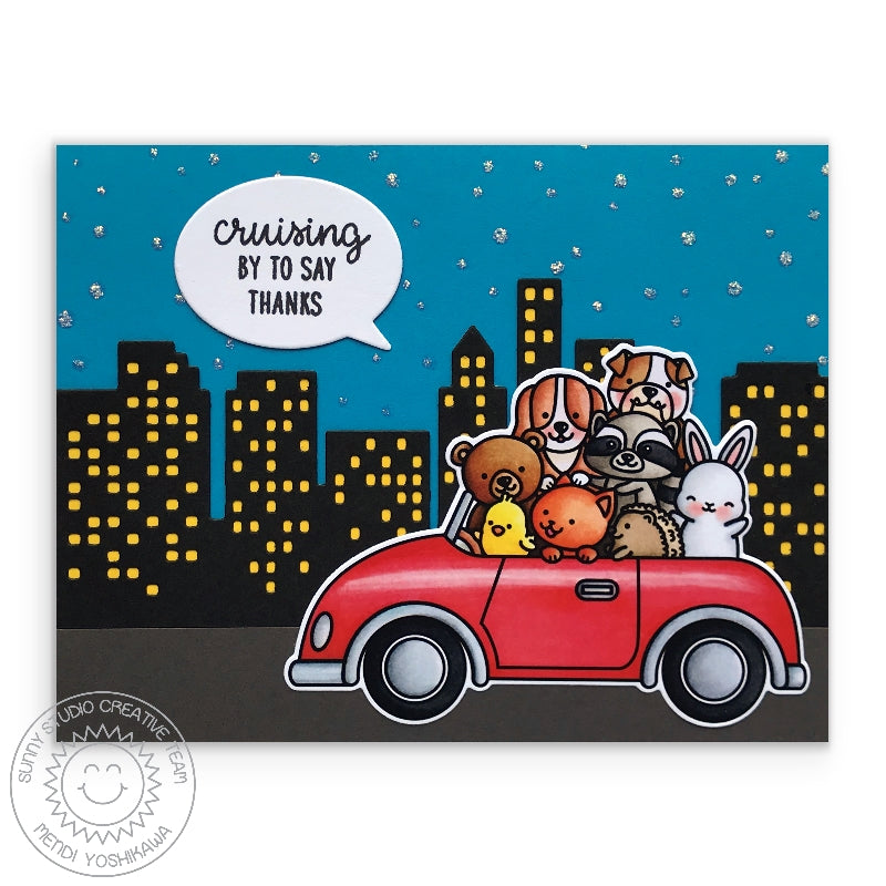 Sunny Studio Stamps Cruising By To Say Thanks Critters in Car in the City (using Cityscape Border die)