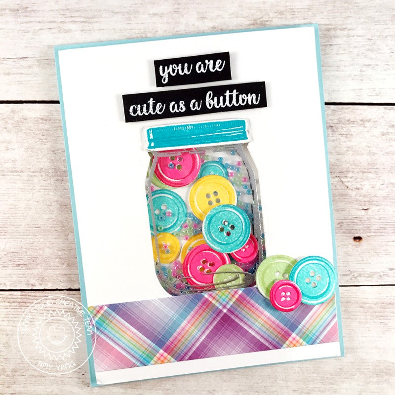 Sunny Studio Stamps: Cute As A Button Jar of Buttons Shaker Card
