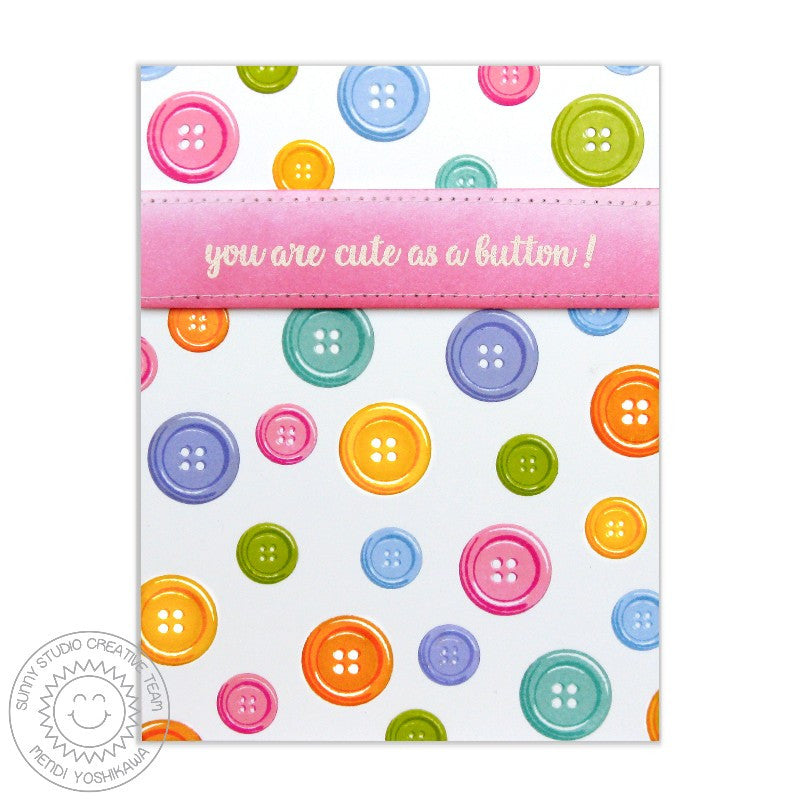 Sunny Studio Stamps Cute As A Button Rainbow Polka-dot Card