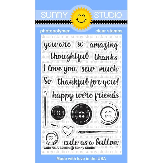 Sunny Studio Stamps Cute As A Button 3x4 Photopolymer Clear Stamp Set