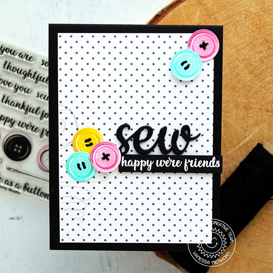 Sunny Studio Cute As A Button Black & White Polka-dot Friends Card