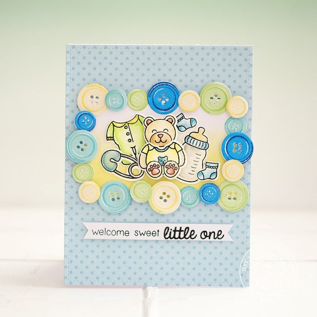 Sunny Studio Stamps Baby Bear Blue Baby Boy Button Card by Lexa Levana