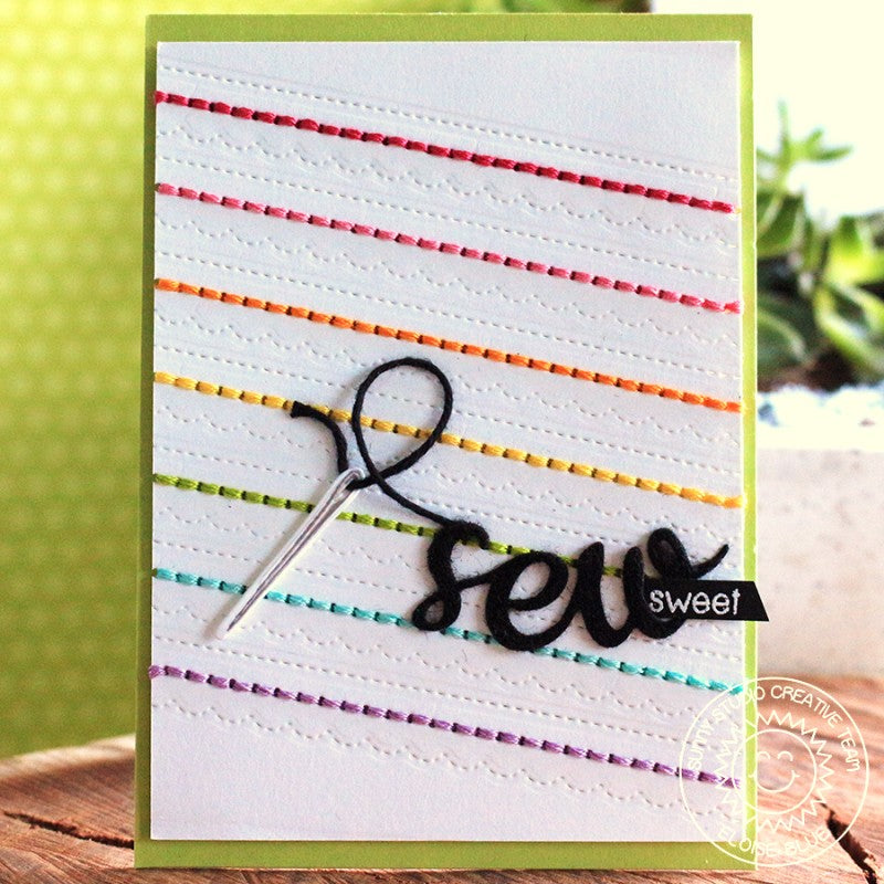 Sunny Studio Cute As a Button Sew Sweet Stitched Rainbow Card with Layered Needle