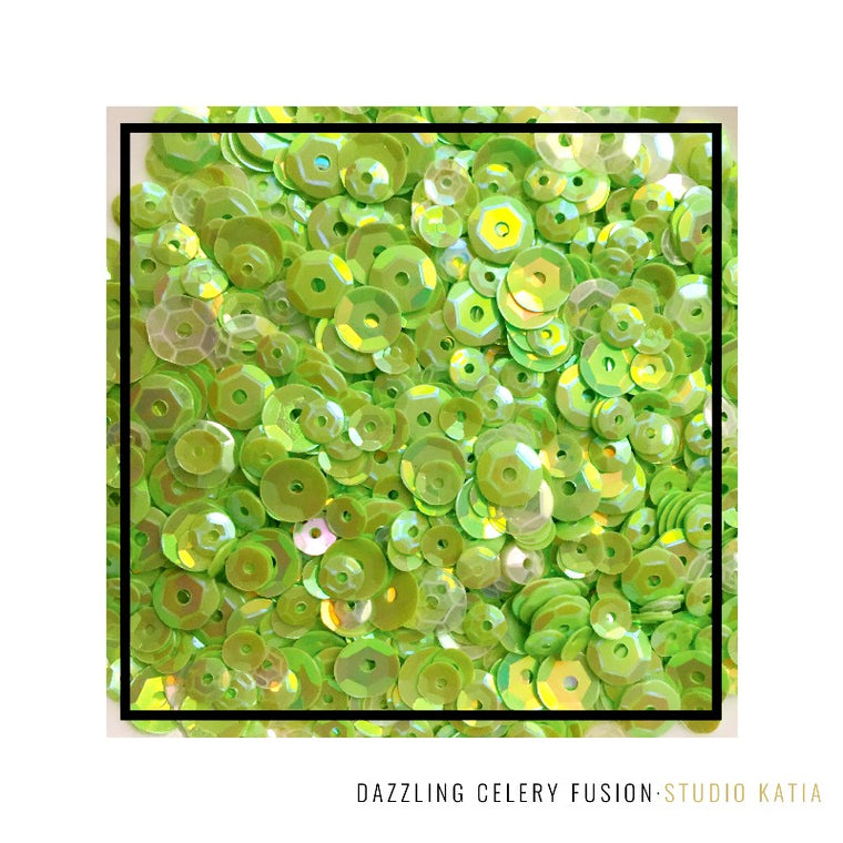 Studio Katia Dazzling Celery Fusion Lime Green iridescent Sequins