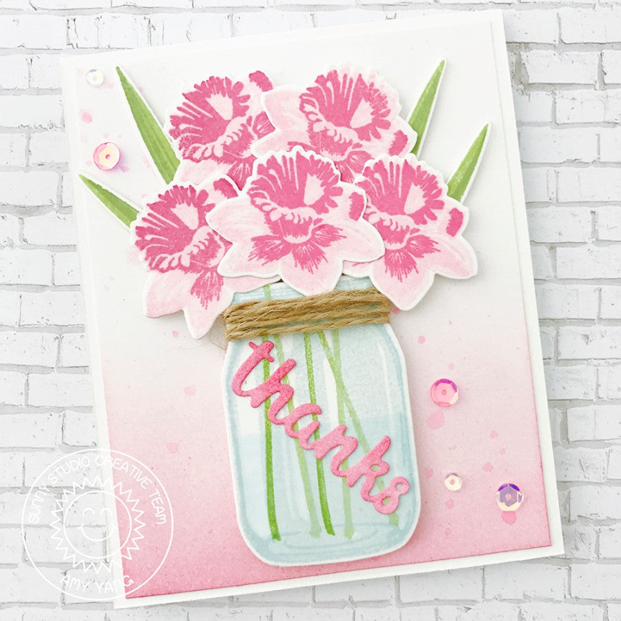 Sunny Studio Pink Daffodil Dreams Layered Flower Thank You Card by Amy Yang (using Vintage Jar stamps)