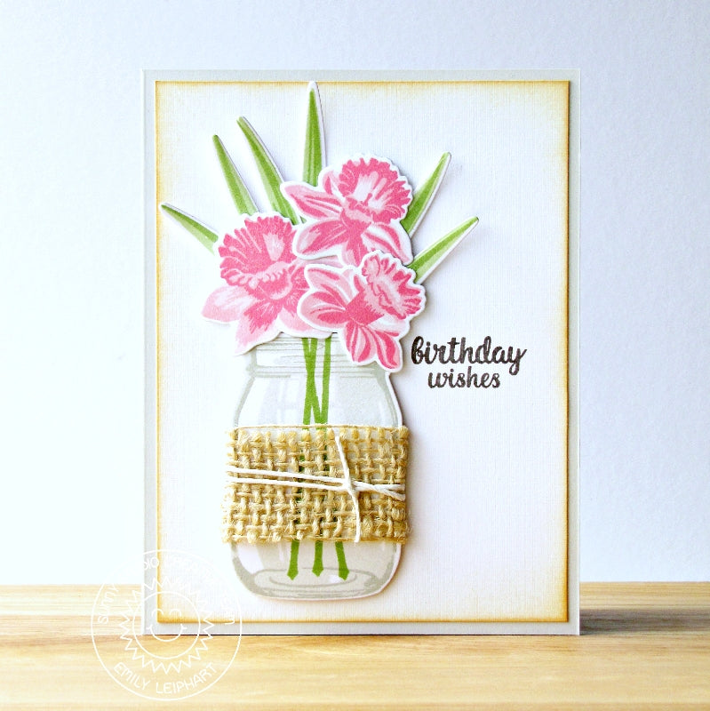 Sunny Studio Happy Birthday Layered Flowers In Jar with Burlap wrap Card by Emiy Leiphart (using Vintage Jar stamps)