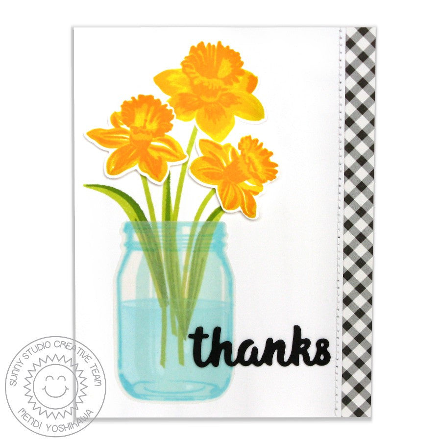 Sunny Studio Vintage Jar Layering Stamp Used as Vase for Daffodil Bouquet Card