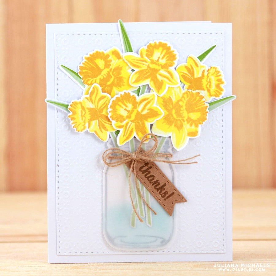 Sunny Studio Daffodil Dreams Layered Flower Thank You Handmade Card by Juliana Michaels (using Vintage Jar Stamps)