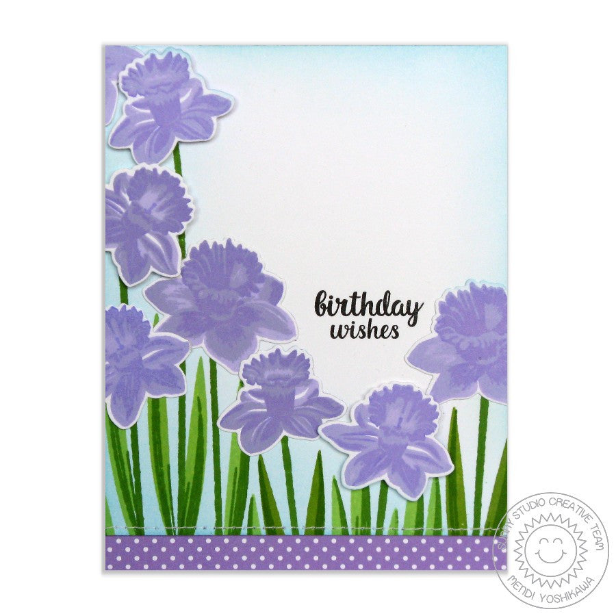 Sunny Studio Stamps Daffodil Dreams Lavender Birthday Card