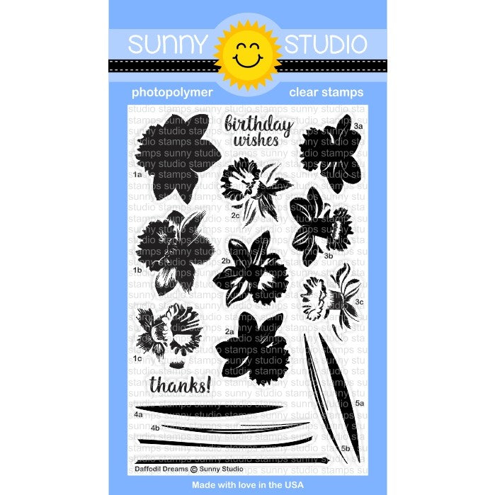 Sunny Studio Stamps Daffodil Dreams 4x6 Photo-Polymer Clear Stamp Set