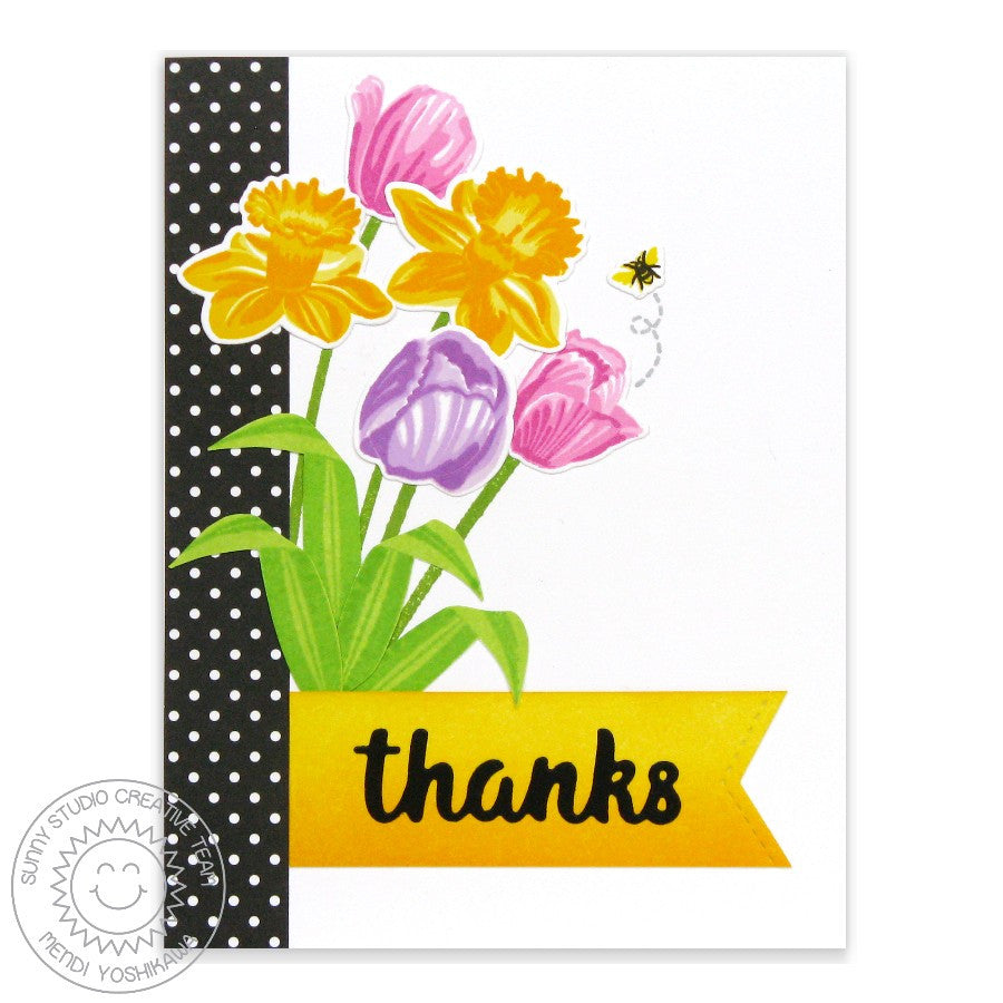 Sunny Studio Stamps Daffodil Dreams & Timeless Tulips Thank You card