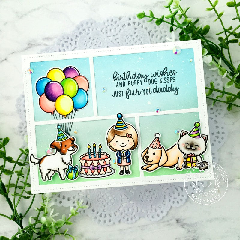 Sunny Studio Stamps Cat & Dog Birthday Party Grid Style Handmade Card (using Comic Strip Speech Bubbles Metal Cutting Dies)
