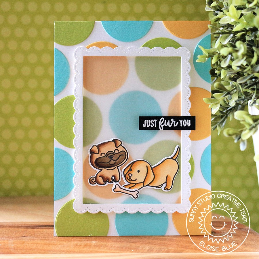 Sunny Studio Stamps Dog Card featuring a vellum frame using Fancy Frames Stitched Scalloped dies