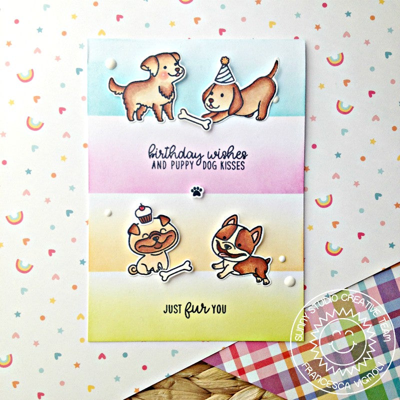 Sunny Studio Stamps Devoted Doggies Pastel Rainbow Colorblock Card