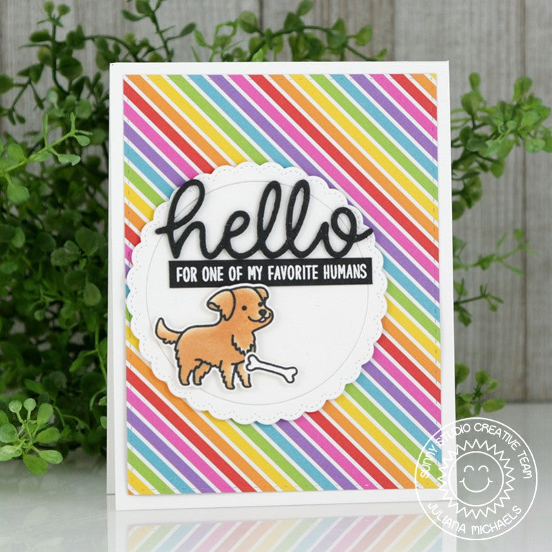 Sunny Studio Stamps Hello To My Favorite Human from the Dog card using Rainbow Bright 6x6 Patterned Paper Pack