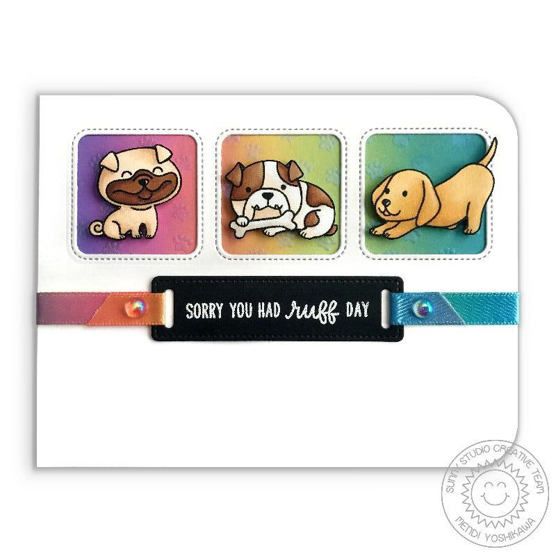 Sunny Studio Stamps Puppy Dog Ruff Day Rainbow Card featuring Ribbon Slider Label from Fancy Frames Rectangle Dies